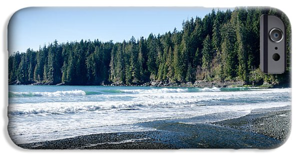 China Beach iPhone Cases - CHINA SURF china beach juan de fuca provincial park BC canada iPhone Case by Andy Smy