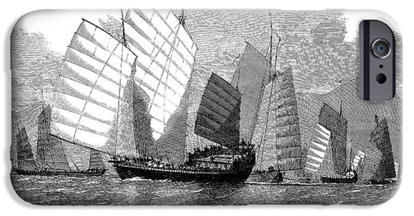 Pirate Ships iPhone Cases - China: War Junks, 1857 iPhone Case by Granger