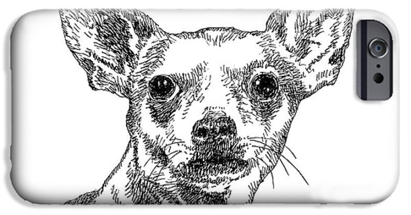 Chiwawa iPhone Cases - Chiwawa-Portrait-Drawing iPhone Case by Gordon Punt