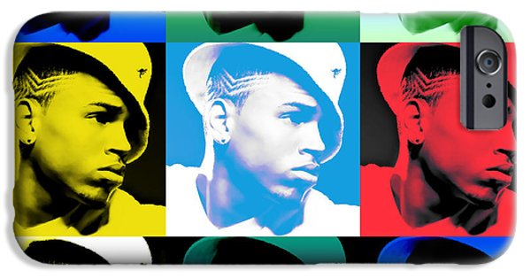 Nicki Minaj iPhone Cases - CHris Brown Warhol by GBS iPhone Case by Anibal Diaz