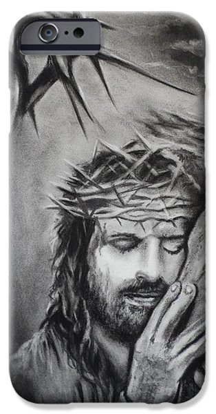 Jesus Drawings iPhone Cases - Christ iPhone Case by Carla Carson