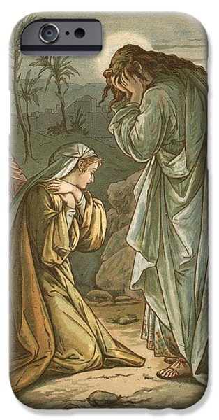 Tear Paintings iPhone Cases - Christ in the garden of Gethsemane iPhone Case by John Lawson