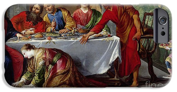 Tear Paintings iPhone Cases - Christ in the House of Simon the Pharisee iPhone Case by Claude Vignon