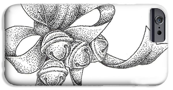 Studio Drawings iPhone Cases - Christmas Bells iPhone Case by Christy Beckwith