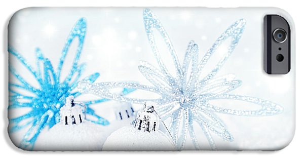 Design iPhone Cases - Christmas decoration background iPhone Case by Anna Omelchenko