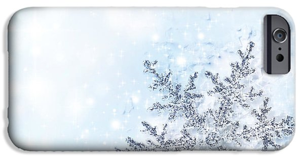 Wintertime iPhone Cases - Christmas holiday background iPhone Case by Anna Omelchenko