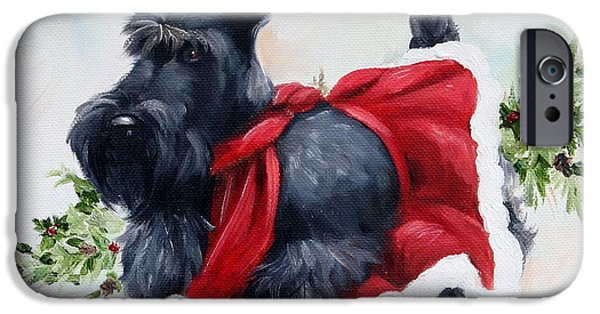 Scottish Terrier Puppy iPhone Cases - Christmas  iPhone Case by Mary Sparrow