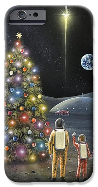 Launching System iPhone Cases - Christmas On The Moon, Space Art iPhone Case by Richard Bizley
