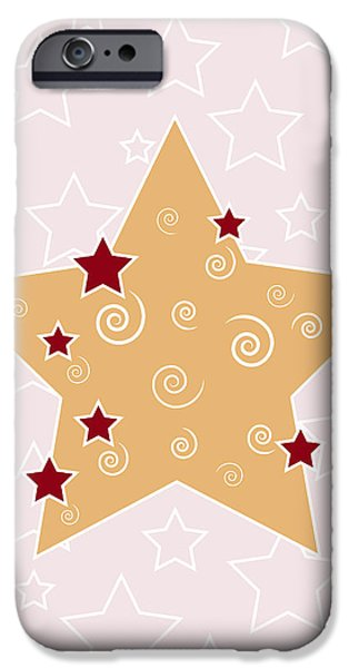 Season Drawings iPhone Cases - Christmas Star iPhone Case by Frank Tschakert