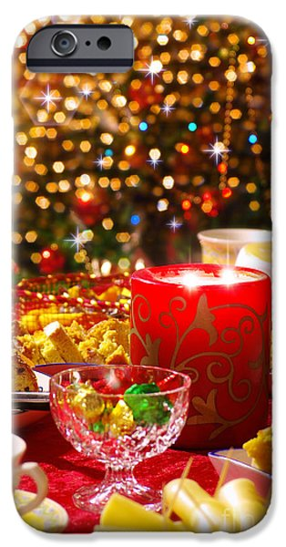 Tea Party iPhone Cases - Christmas table set iPhone Case by Carlos Caetano