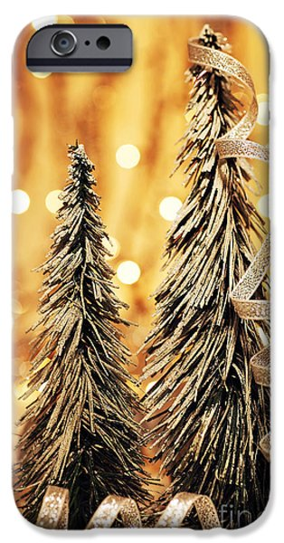 Wintertime iPhone Cases - Christmas tree decoration iPhone Case by Anna Omelchenko