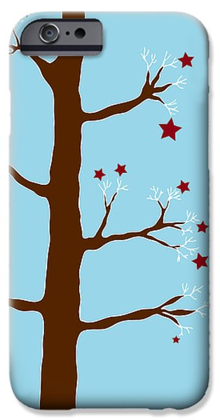 Snowy Drawings iPhone Cases - Christmas Tree iPhone Case by Frank Tschakert