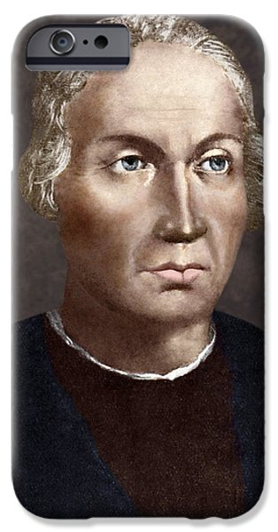 Christopher Columbus iPhone Cases - Christopher Columbus, Italian Explorer iPhone Case by Sheila Terry