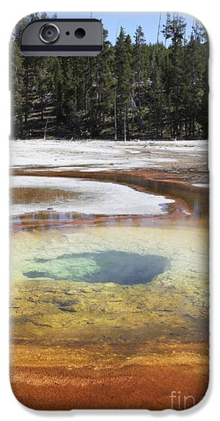 Chromatic Pool Hot Spring, Upper Geyser iPhone Case by Richard Roscoe