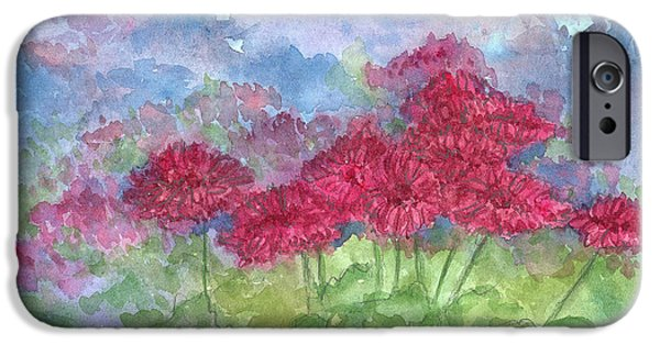 Flora Drawings iPhone Cases - Chrysanthemums iPhone Case by Cathie Richardson
