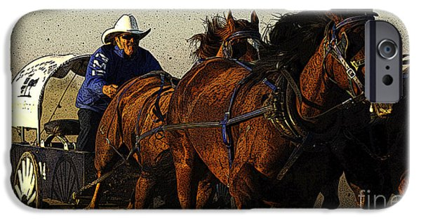 Horse Racing Photographs iPhone Cases - Rodeo Chuckwagon Racer iPhone Case by Bob Christopher