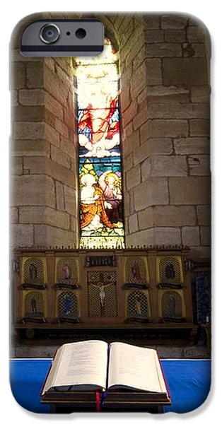 Church And Open Bible, Holy Island iPhone Case by John Short