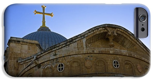 Psi iPhone Cases - church of the Holy Sepulchre Old city Jerusalem iPhone Case by Ilan Rosen