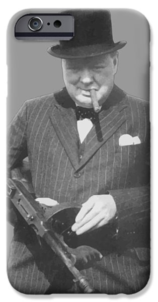 Ww2 iPhone Cases - Churchill Posing With A Tommy Gun iPhone Case by War Is Hell Store