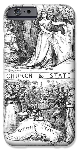 CHURCH/STATE CARTOON, 1870 iPhone Case by Granger
