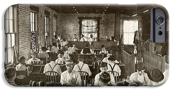 Suspenders iPhone Cases - Cigar Factory, 1909 iPhone Case by Granger