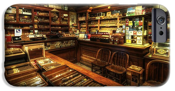 """indoor"" Still Life Photographs iPhone Cases - Cigar Shop iPhone Case by Yhun Suarez"