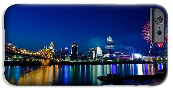 Fireworks iPhone Cases - Cincinnati Boom iPhone Case by Keith Allen