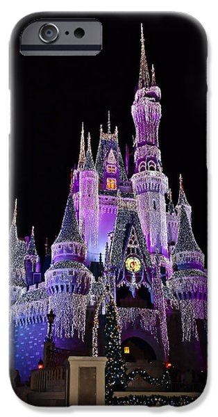 Storybook iPhone Cases - Cinderellas Castle At Night iPhone Case by Carmen Del Valle