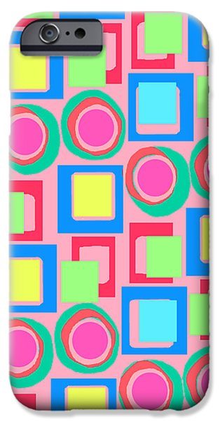 Louisa iPhone Cases - Circles and Squares iPhone Case by Louisa Knight