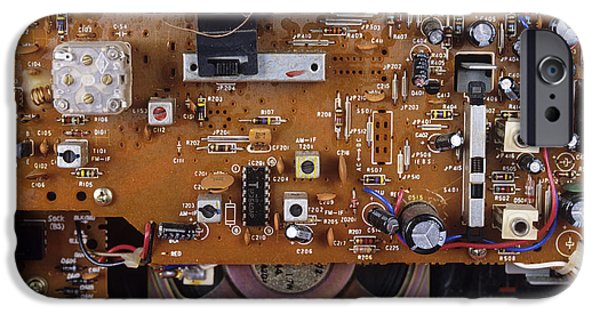 Chip iPhone Cases - Circuit Board In A Portable Radio iPhone Case by Andrew Lambert Photography