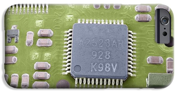Microchip Photographs iPhone Cases - Circuit Board Microchip, Sem iPhone Case by Steve Gschmeissner