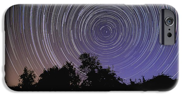 Ursa Minor iPhone Cases - Circular Star Trails Taken iPhone Case by Miguel Claro