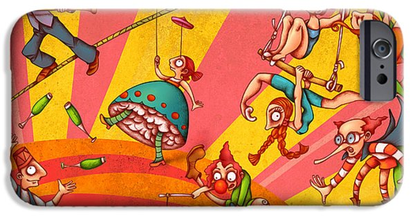 Child iPhone Cases - Circus 3 iPhone Case by Autogiro Illustration