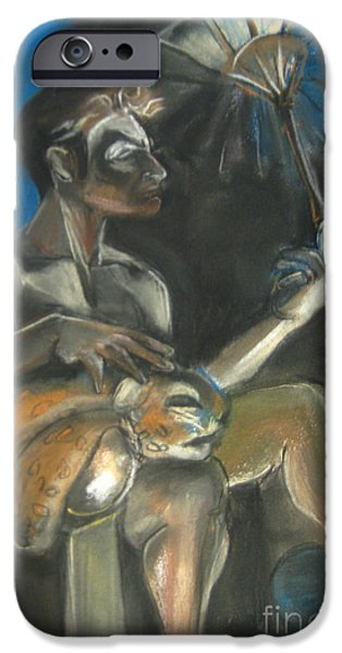Umbrella Pastels iPhone Cases - Circus Man with Tiger iPhone Case by Gabrielle Wilson-Sealy