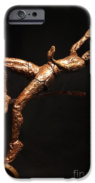 Person Sculptures iPhone Cases - Citius Altius Fortius Olympic Art High Jumper on Black iPhone Case by Adam Long