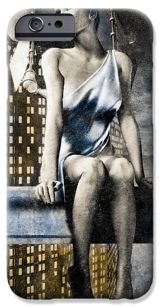 Night Angel iPhone Cases - City Angel -2 iPhone Case by Bob Orsillo