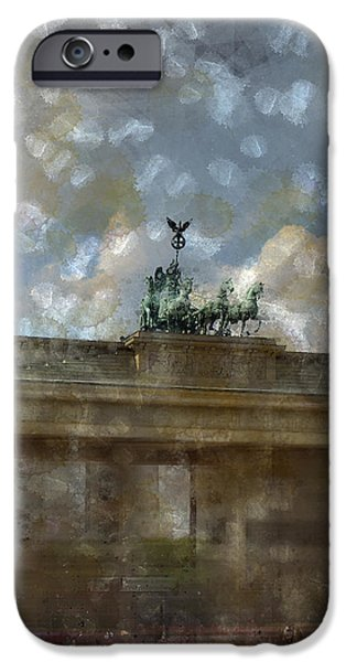 Facade Digital iPhone Cases - City-Art BERLIN Brandenburger Tor II iPhone Case by Melanie Viola