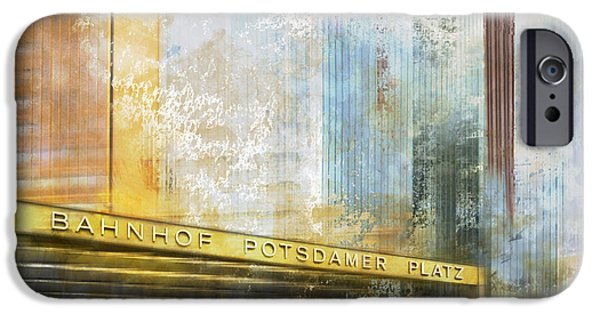 Berlin iPhone Cases - City-Art BERLIN Potsdamer Platz iPhone Case by Melanie Viola