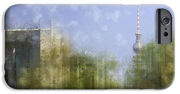 Abstract Sights Digital iPhone Cases - City-Art BERLIN River Spree iPhone Case by Melanie Viola