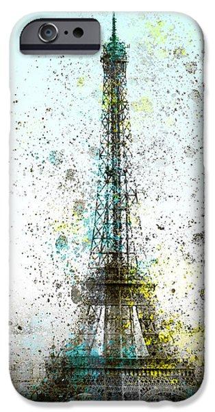 Abstract Sights Digital iPhone Cases - City-Art PARIS Eiffel Tower II iPhone Case by Melanie Viola