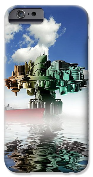 Human Survival iPhone Cases - City At Sea, Artwork iPhone Case by Victor Habbick Visions