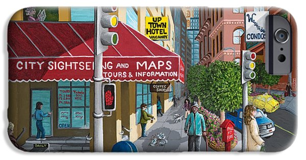 Store Fronts Paintings iPhone Cases - City Corner iPhone Case by Katherine Young-Beck