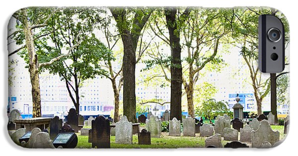 Headstones iPhone Cases - City Graveyard iPhone Case by Inti St. Clair