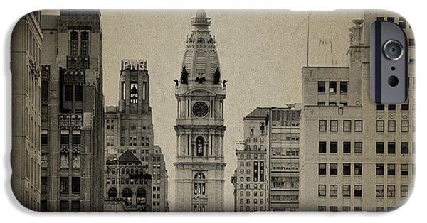 Philadelphia City Hall iPhone Cases - City Hall from North Broad Street Philadelphia iPhone Case by Bill Cannon