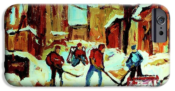 Afterschool Hockey Paintings iPhone Cases - City Of Montreal Hockey Our National Pastime iPhone Case by Carole Spandau