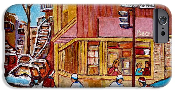 Afterschool Hockey Paintings iPhone Cases - City Of Montreal St. Urbain And Mont Royal Beautys With Hockey iPhone Case by Carole Spandau