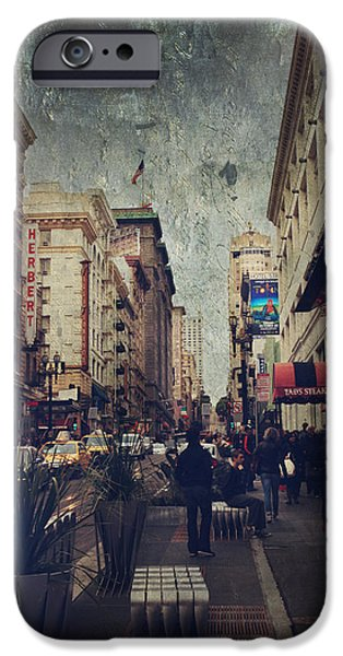 San Francisco Street iPhone Cases - City Sidewalks iPhone Case by Laurie Search