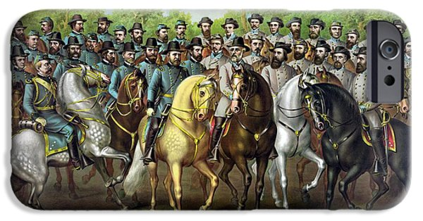 History iPhone Cases - Civil War Generals and Statesman With Names iPhone Case by War Is Hell Store