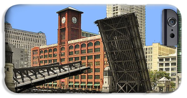 Drawn iPhone Cases - Clark Street Bridge Chicago - A contrast in time iPhone Case by Christine Till