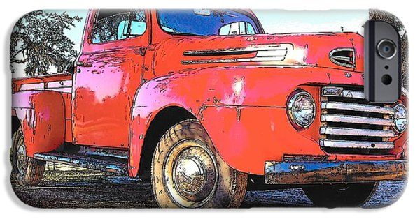 1956 Ford Truck iPhone Cases - Classic Red Truck iPhone Case by Rebecca Brittain